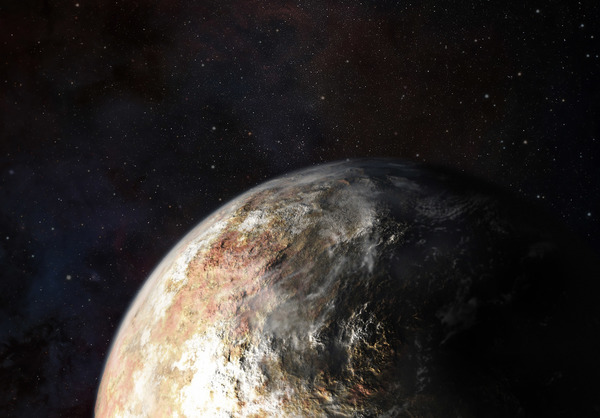 تصورٌ فني للغيوم في غلاف بلوتو الجوي. المصدر: JHUAPL