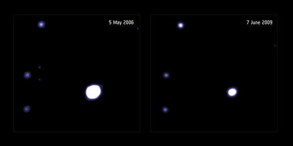 الثقب الأسود متوسط الكتلة المحتمل من مرصد XXM-Newton الفضائي للأشعة السينية  حقوق الصورة A/XMM-Newton; D. Lin et al (University of New Hampshire, USA). Acknowledgment : NASA/CXC