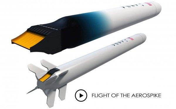 تصور فني لعربة اختبار الصاروخ إيروسبايك ديمونستراتور 3، وصاروخ هاس 2CA.   حقوق الصورة: ARCA