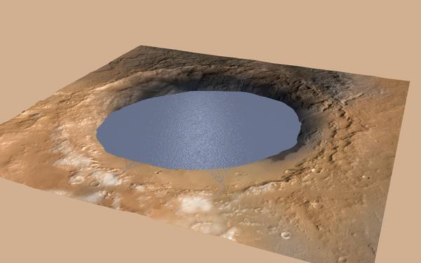 تُظهر هذه المحاكاة الحاسوبية البحيرة التي كانت تملأ فوهة غيل (Gale Crater) على المريخ في الماضي البعيد. تشير الأبحاث الجديدة إلى إمكانية تشكل البحيرات على سطح المريخ في الوقت الحاضر. ويمكن أن تبقى لمدة سنة على الأقل إذا كانت عميقة بما يكفي، رغم أن قشرة جليدية ستتشكل سريعاً على سطحها. المصدر: NASA/JPL-Caltech/ESA/DLR/FU Berlin/MSSS