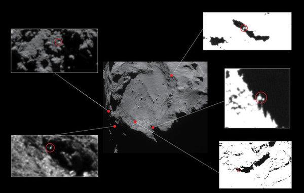 صور لمواقع تقريبيّة لخمس مركبات فضائية تم تحديدها مبدئيًا بواسطة كاميرا أوسيريس عالية الدقة وذات الزاوية الضيقة، وقد تم التقاطها في كانون الأول/ديسمبر عام 2014 من مسافة 20 كم تقريبًا من مركز المذنب 67P/C-G. تم تحديد هذه المواقع بوضع دائرة حولها في الصور المقربة، ما يُظهر معالم بحجم فيلي على عرض 1-2 متر. تمّت زيادة التباين في بعض الصور لإظهار المواقع المرشَّحة بشكل أفضل، وتم استبعاد جميع المواقع المرشَّحة عدا واحد (وهو الظاهر في أقصى اليسار) بسبب وجود معوّقات تتضمّن مسار المركبة الفضائية الذي أعيد إنشاؤه، بالإضافة لطبوغرافيّة موقع الهبوط. يتواجد الموقع في أقصى اليسار بالقرب من مدار تجربة كونسيرت CONSERT.  المصدر: Centre image: ESA/Rosetta/NAVCAM – CC BY-SA IGO 3.0; insets: ESA/Rosetta/MPS for OSIRIS Team MPS/UPD/LAM/IAA/SSO/INTA/UPM/DASP/IDA