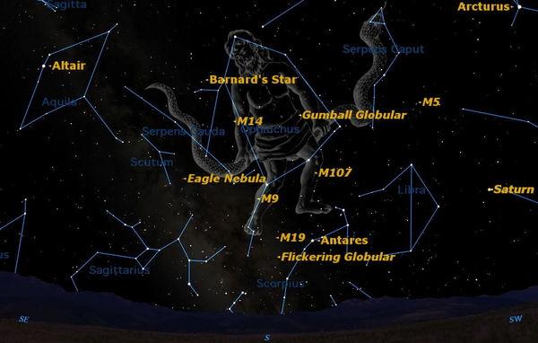 كوكبة برج حامل الثعبان مهم ولكنها غير معروفة كثيراً ومع ذلك فهي تضفي بجمالها على سماء ليالينا الصيفية. حقوق الصورة: Starry Night Software