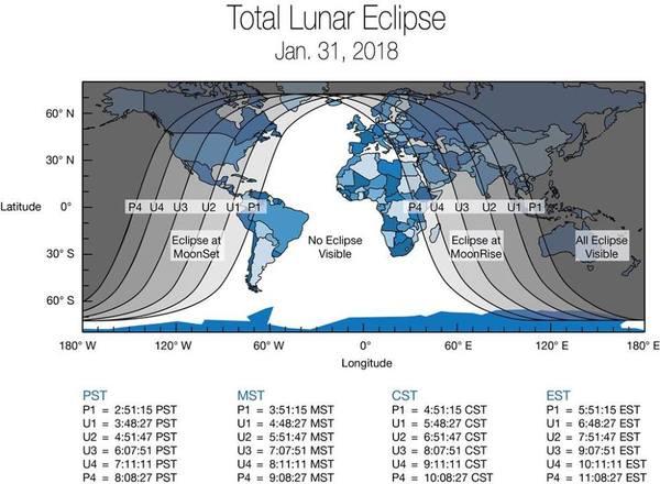 تُظهر هذه الخريطة المناطق التي ستتعرض للخسوف الجزئي أو الكلي للقمر في يوم 31 يناير/كانون الثاني 2018. سيُشاهد الخسوف قبل شروق شمس الحادي والثلاثون من يناير للمراقبين في أمريكا الشمالية، ألاسكا وهاواي. أما عن المراقبين الواقعين في الشرق الأوسط، آسيا، روسيا الشرقية، أستراليا ونيوزلندا سيكون الخسوف مرئياً خلال شروق القمر في مساء 31 يناير. المصدر: NASA