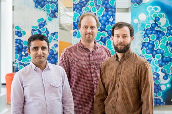 اكتشف الباحثون من مختبر أوك ريدج الوطني  Oak Ridge National Laboratory نوعًا جديدًا من النقاط الحرجة الكمومية، وهي طريقة جديدة تتحول بها المواد من حالة إلى أخرى. الباحثون كما في الصورة من اليسار: ليك بودل Lekh Poudel وأندرو كريستيانسن Andrew Christianson، وأندور ماي Andrew May. حقوق الصورة: ORNL/Genevieve Martin