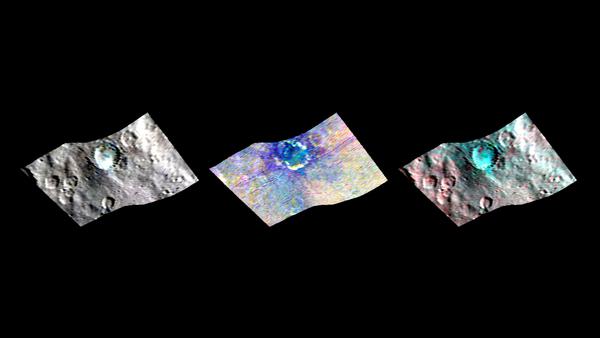 تظهر الفوهة البركانية هاولاني Haulani على سيريس (بعرض 21 ميلاً، 34 كم). تظهر في هذه المشاهد من خرائط (VIR) المقياس الطيفي بالأشعة المرئية وتحت الحمراء (فير) على متن المركبة الفضائية داون التابعة لناسا.  مصدر الصورة: NASA/JPL-Caltech/UCLA/ASI/INAF