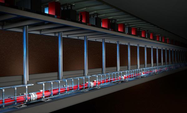 رسم توضيحي لمسرع الإلكترونات في جهاز الليزر المخصص لإطلاق الأشعة السينية والمستخدم في مصدر الضوء المترابط للمسرع الخطي الثاني التابع لمختبر SLAC.