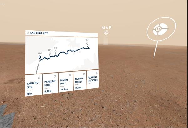 يتيح (Access Mars) للمستخدمين زيارة العديد من المواقع التي استكشفتها كيوريوسيتي على مدار السنوات الخمس الماضية. (Credits: NASA/JPL-Caltech)