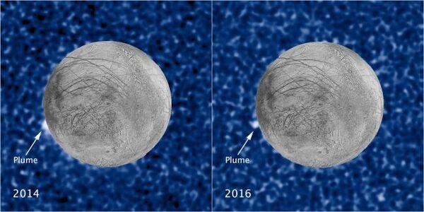 التقط تلسكوب هابل الفضائي صوراً لأعمدة يوروبا في 2014 و2016 المُنبعثة من نفس المنطقة على القمر.  حقوق الصورة:NASA/ESA/W. Sparks (STScI)/USGS Astrogeology Science Center