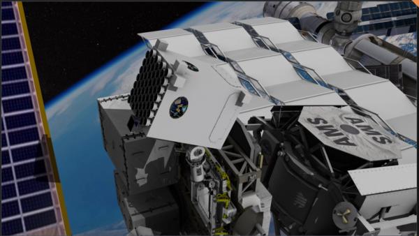 """توضح الصورة تصويرًا لجهاز مستكشف البنية الداخلية للنجم النيتروني (نيسر) (NICER)، المثبت على متن محطة الفضاء الدولية. وقد قام الباحثون بتوجيه خمسةٍ وستين تلسكوبًا من تلسكوبات الأشعة السينية التابعة لجهاز (نيسر) (NICER)، نحو أربعة نجومٍ تُسمى """"نجوم الميلي ثانية النابضة"""" (millisecond pulsars)، لتحديد موقع المحطة الفضائية بشكل مستقل. المصدر: NASA's Goddard Space Flight Center"""