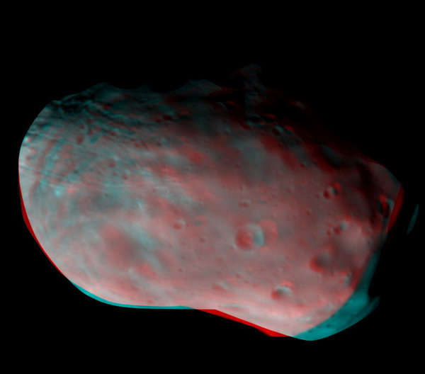 صورة ثلاثية الأبعاد لفوبوس   حقوق الصورة: ESA/Roscosmos/CaSSIS