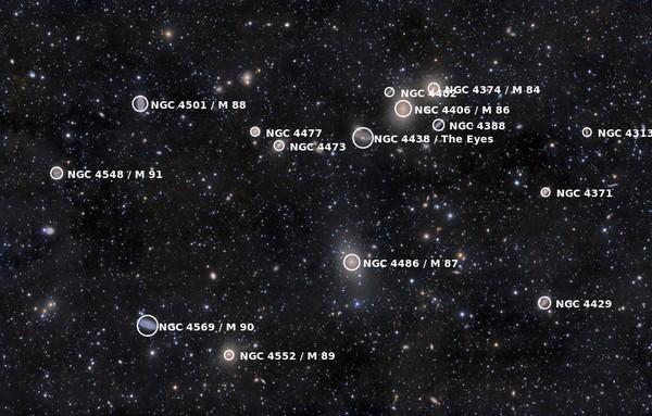 هناك أكثر من ألف مجرةٍ معروفةٍ ضمن عنقود العذراء المجري. حقوق الصورة NASA/ Rogelio Bernal Andreo