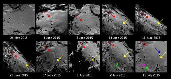 نفس سلسلة الصور الواردة أعلاه مع الإشارة إلى أماكن وتواريخ التغيرات الشكلية في المنطقة. المصدر: ESA/Rosetta/MPS for OSIRIS Team MPS/UPD/LAM/IAA/SSO/INTA/UPM/DASP/IDA