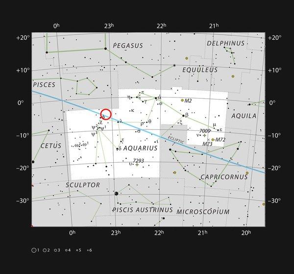 موقع TRAPPIST-1 في كوكبة الدلو مصدر الصورة: المرصد الأوروبي الجنوبي /الاتحاد الفلكي الدولي و Sky & Telescope