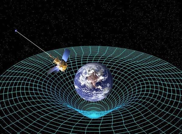 رسم توضيحي للانحناء الذي تسبّبه الكرة الأرضية في الزمكان بفعل كتلتها وجاذبيتها.  حقوق الصورة: NASA