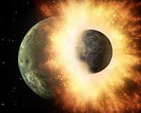 يعتقد العلماء أن القمر تشكل بفعل اصطدام عالي السرعة، وذلك عندما اصطدم جرم سماوي بحجم كوكب المريخ تقريباً مع كوكب الأرض المتشكل حديثاً قبل حوالي 4,5 مليار سنة. اندمج الحطام المتناثر والبخار والصخور المنصهرة الناجمة عن الاصطدام مع الحطام الصادر عن الأرض وشكلا سوية حلقة أحاطت بكوكبنا الأرض. ومع مرور الوقت اندمج الحطام في الحلقة ليشكل ما يعرف اليوم باسم القمر. المصدر: NASA / JPL-Caltech