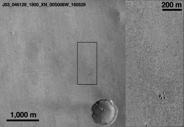 الصورة التي التقطتها مركبة الاستطلاع المدارية  لشياباريلي بعد هبوطه