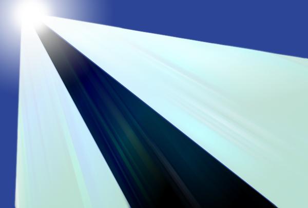 في هذا المخطط للإقصاء الأدياباتي، يجري التحكم بحركة الضوء داخل الدليليْن الموجييْن الخارجييْن بواسطة الدليل الموجي الوسطي المظلم الذي لا يُراكِم أيَّ كمية من الضوء.   Credit: Zhosia Rostomian, Berkeley Lab