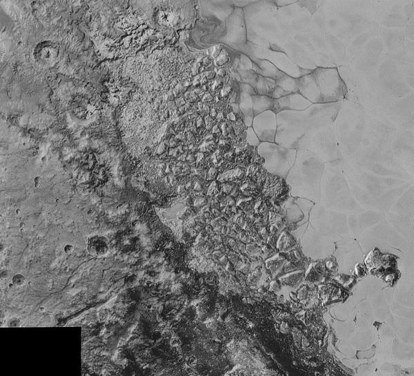 هذه صورة التقطتها المركبة الفضائية نيو هورايزنز لمساحة واسعة من سطح بلوتو تقدر بـ 300 ميل (470 كم). وفي منتصف الصورة نرى منطقة من التضاريس الوعرة والمتداخلة عند الحافة الشمالية لهذا السهل الجليدي الواسع والمسمى سبوتونيك بلانوم. أصغر المعالم المرئية يبلغ حجمها نصف ميل (0.8 كم)، وقد التقطت هذه الصورة عندما كانت نيو هورايزنز تحلق عابرة بالقرب من بلوتو بتاريخ 14 يوليو/تموز لسنة 2015، وذلك من على مسافة تقدر بـ 50 ألف ميل (أي 80 ألف كم).