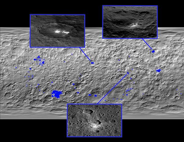 هذه الصورة عبارة عن خريطة لسطح سيريس، حيث تم إنشاؤها عبر مجموعة من الصور التي التقطتها المركبة دون الفضائية. تظهر في الخريطة أماكن 130 بقعة ساطعة موجودة في جميع أرجاء سطح هذا الكوكب القزم، وقد تم تسليط الضوء الأزرق عليها بهدف تمييزها عن غيرها.  المصدر: NASA/JPL-Caltech/UCLA/MPS/DLR/IDA