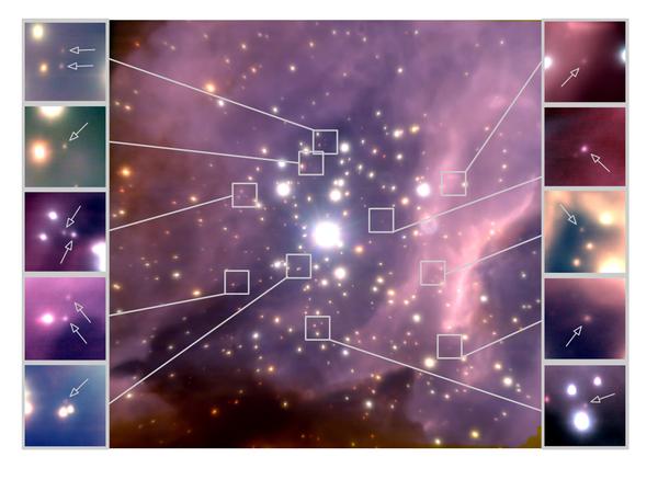 التَقطت الكاميرا البصريّة التكييفية (NACO) التابعة للـتليسكوب الكبير جداً VLT في المرصد الأوربي الجنوبي ESO، هذه الصورة مموهة الألوان القريبة من الأشعة الحمراء والتي تُظهر العنقود النجميّ RCW 38.   يقع العنقود النجميّ RCW 38 على بُعد 5500 سنة ضوّئية من الشمس ويُقدَّر مجال الرؤية للصورة بـدقيقة قوسيّة، بمعنى أن عرض هـذا العنقود يساوي 1.5 سنة ضوّئية، وتُظهِر الصور الصغيرة المُرفَقة مجموعةً فرعيةً من الأقزام البنيّة الباهتة ذات الكتل الأقل المُوضّحة بالسهام والتي اكتُشِفت عن طريق هذه الصورة المموهة للعنقود RCW 38، كما يبعد محتوى كل صورة عن الأُخرى بنحو 0.07 سنة ضوّئية، وهذه الأقزام البنية المُرشَّحة قد لا تزن سوى بضع عشرات من كتلة المشتري أو يُمكننا القول بأن وزنها أقل بـ 100 مرة من النجوم الأكثر ضخامة التي توجد في وسط الصورة.  حقوق الصورة: Koraljka Muzic, University of Lisbon, Portugal / Aleks Scholz, University of St Andrews, UK / Rainer Schoedel, University of Granada, Spain / Vincent Geers, UKATC / Ray Jayawardhana, York University, Canada / Joana Ascenso, University of Lisbon, University of Porto, Portugal / Lucas Cieza, University Diego Portales, Santiago, Chile. The study is based on observations conducted with the VLT at the European Southern Observatory.