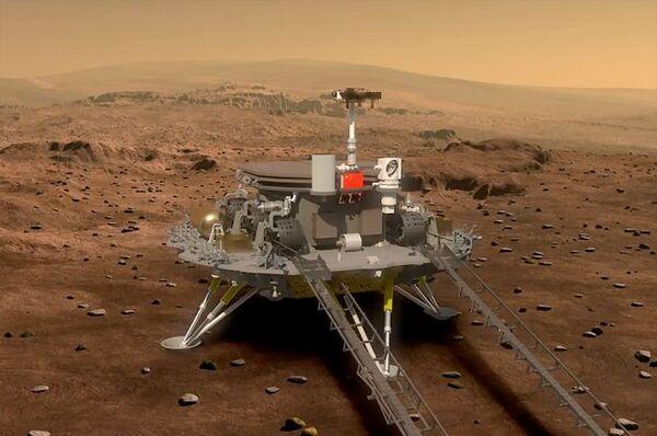 ستتضمن مهمة الصين المريخية تيانوين-1 المقرر إطلاقها في يوليو/تموز 2020 مركبة مدارية ومركبة هبوط ومركبة متجولة ذات ست عجلات. (حقوق الصورة: CNSA)