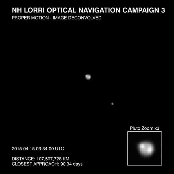 تُوضح هذه الصورة بلوتو وأكبر أقماره شارون؛ وتم التقاطها من قبل المصور الاستكشافي واسع المجال (LORRI) الموجود على متن المركبة الفضائية نيو هورايزنز في 15 ابريل/نيسان 2015. حقوق الصورة: ناسا