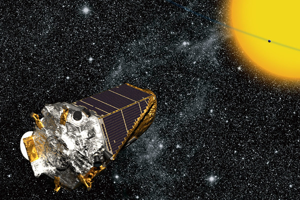 تُظهر الصورة لوحة رسمها فنان لمركبة كيبلر الفضائية  مصدر الصورة: NASA/Kepler mission/Wendy Stenzel