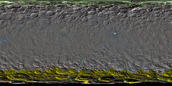 تُظهر هذه الصورة جزءاً من النصف الشمالي لسيريس مع بيانات عد النيوترونات التي حصلت عليها أداة كشف أشعة غاما والنيوترون GRaND، المحمولة على متن المركبة الفضائية داون التابعة لناسا. مصدر الصورة: NASA/JPL-Caltech/UCLA/ASI/INAF