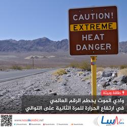 وادي الموت يحطم الرقم العالمي في ارتفاع الحرارة للمرة الثانية على التوالي