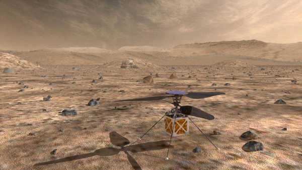 ستقوم مروحية المريخ التابعة لناسا، وهي عبارةٌ عن طائرةٍ صغيرةٍ ذاتية التحكم، باستكشاف المريخ مع مركبة المريخ الجوالة 2020؛ لاختبار تقنية التحليق لمركبات أثقل من الهواء على الكوكب الأحمر. حقوق الصورة: NASA/JPL-Caltech.