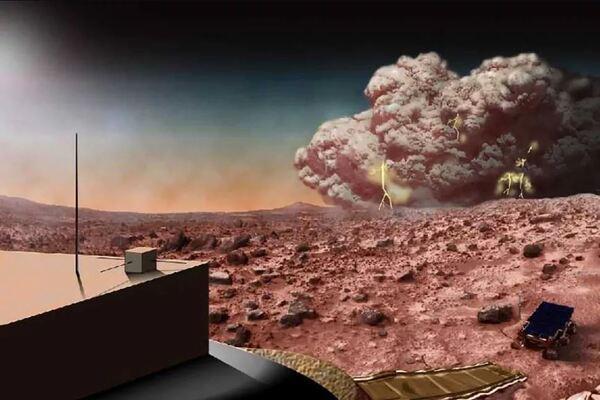 تجسيد فني لعاصفة رملية مشحونة كهربائيا في كوكب المريخ. حقوق الصورة: NASA