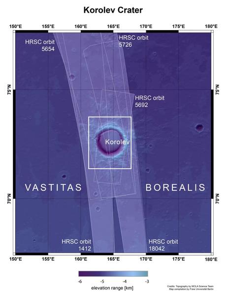 تُظهِر هذه الصورة التضاريس السطحية في فوهة كورولف وحولها، والتي يبلغ قطرها 82 كيلومتر (51 ميل) والموجودة في الأراضي المنخفضة الشمالية للمريخ. يشير المربع الأبيض إلى المنطقة التي صورت فيها كاميرا ستيريو عالية الدقة الخاصة بمسبار مارس إكسبرس خلال المدارات 18042 و5726 و5692 و5654 و1412. تشير درجة اللون الأزرق إلى ارتفاع التضاريس حسب الشريط أسفل الصورة. حقوق الصورة: NASA MGS MOLA Science Team