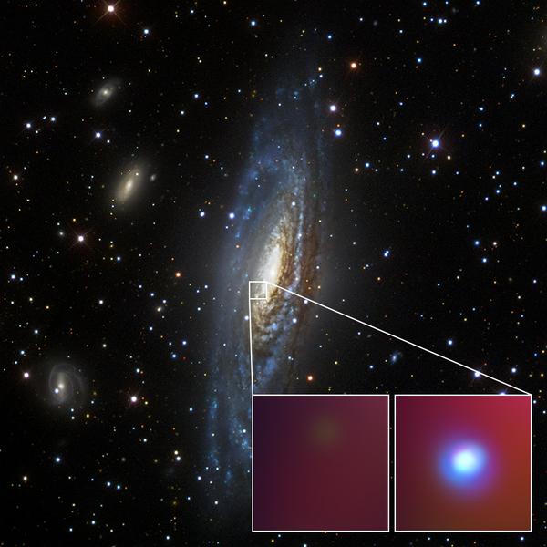 """تُظهِر هذه الصورة بالضوء المرئي والتي التقطها مستطلع السماء الرقمي السريع """"Sloan Digital Sky Survey"""" مركزَ المجرّة الحلزونية """"NGC 7331"""" حيث رصد العلماء المستعر الأعظم غير الاعتيادي المعروف بـ """"SN 2014C"""". حقوق الصورة: صور الأشعة السينية: NASA/CXC/CIERA/R.Margutti، الصورة البصرية: SDSS."""