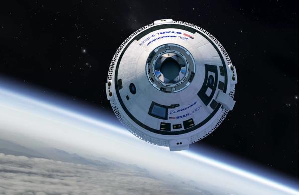 مركبة ستارلاينر CST-100 المأهولة في رحلتها التجريبية الأولى الى محطة الفضاء الدولية في شهر اذار 2019 حقوق الصورة: Boeing
