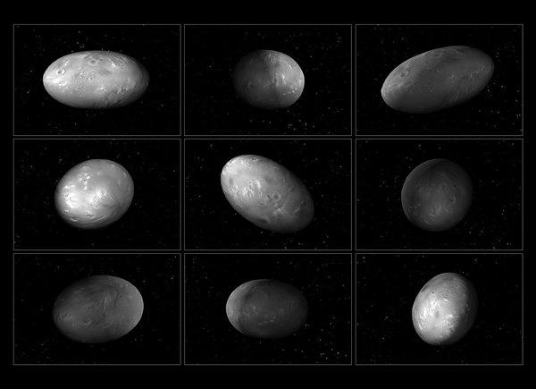 تُظهر هذه المجموعة من الرسوم التوضيحية لقمر بلوتو نيكس كيف يتغير توجّه القمر بشكل غير متوقّع أثناء دورانه حول نظام بلوتو - شارون. المصدر: ناسا و وكالة الفضاء الأوروبية  ESA، M. Showalter (SETI Inst.), G. Bacon (STScI)