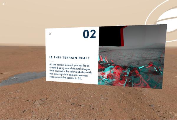 يسمح النقر على الكرات العائمة في (Access Mars) للمستخدمين برؤية الصور الفعلية التي التقطتها المركبة كيوريوستي، التي سمحت للعلماء باكتشافات جديدة. (Credits: NASA/JPL-Caltech)