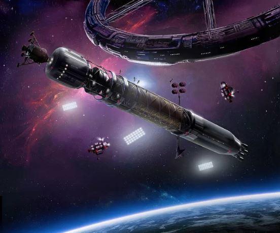 يزور صاروخ يسافر بين الكواكب محطةً فضائيةً دائراً على شكل عجلة في هذا التصور الفني الذي أصدرته الأمة الفضائية المقترحة أسغارديا. حقوق الصورة: James Vaughan/Asgardia.