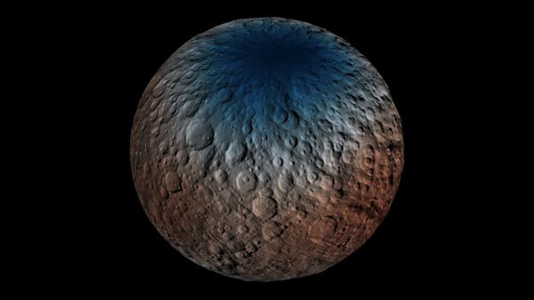 تظهر هذه الخريطة جزءاً من النصف الشمالي لسيريس مع بيانات حصلنا عليها باستخدام جهاز كاشف أشعة غاما والنيوترونات (GRaND) على متن المركبة الفضائية داون التابعة لناسا. مصدر الصورة: NASA/JPL-Caltech/UCLA/ASI/INAF