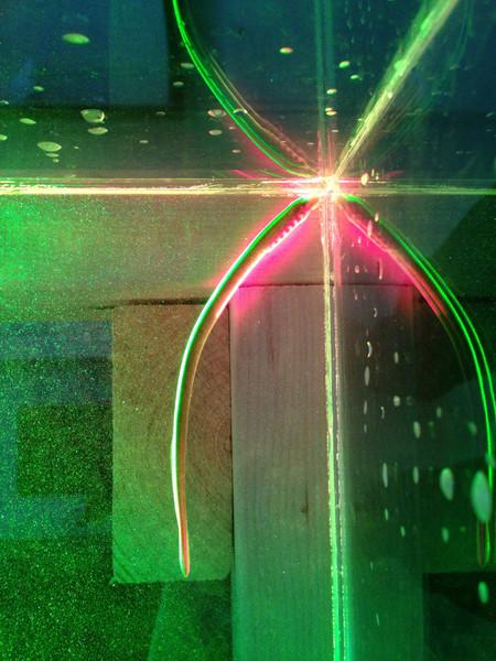 سمك جلكى مُضاء بأشعّة الليزر الخضراء والحمراء التي تتبع حركة الكرات الزجاجيّة الصغيرة في الحوض. مصدر الصورة: شون ب.كولين (SEAN P. COLIN