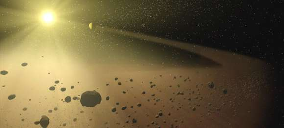 تصور فنان لحزام كويكبات.Credit: NASA