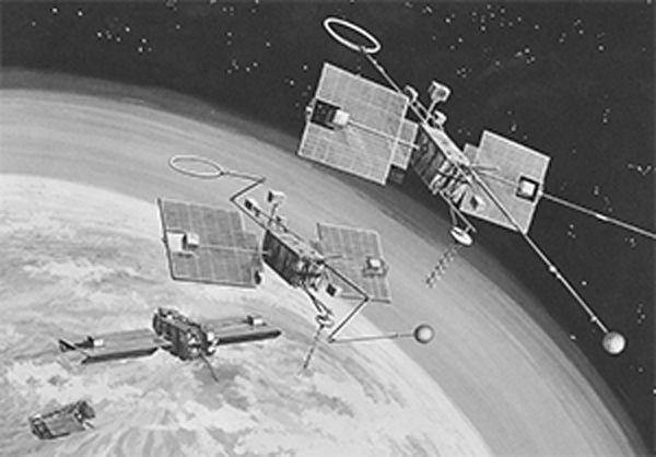 رسم توضيحي لخطوات نشر قمر المرصد الجيوفيزيائي 1 التابع لناسا، الذي أُطلِق عام 1964. حقوق الصورة: ناسا