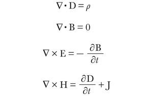 """المعادلات الذهبية الأربعة: تلخَّصُ العلاقة بين القوة الكهربائية والقوة المغناطيسية اليوم، بالإضافة للطبيعة الموجية للضوء والإشعاع الكهرومغناطيسي، بشكلٍ عام، في أربع معادلات تسمى بـ """"معادلات ماكسويل"""" المبينة أعلاه. هذه المعادلات يمكن كتابتها بطرقٍ مختلفة هنا، يرمز بـ J لكثافة التيار الكهربائي، و E و B يرمزان للمجالين الكهربائي والمغناطيسي على التوالي. وهناك مجالان آخران، هما مجال الإزاحة ورمزه D ، والمجال المغناطيسي ورمزه H. يرتبط هذان المجالان بـE و B بواسطة الثوابت التي تعكس طبيعة الوسط التي تعبر الحقول خلاله (يمكن جمع قيم هذه الثوابت في الفراغ لتعطي سرعة الضوء). كان مجال الإزاحة D من المساهمات الرئيسية التي قدّمها ماكسويل، وتصف المعادلة الأخيرة كيف يمكن للتيار الكهربائي والمجالات الكهربائية المتغيرة أن يكوّنا مجالاتٍ مغناطيسية. الرموز في بداية كل معادلة عبارة عن مؤثرات تفاضلية (differential operators) ، تكتنز هذه الرموز التفاضل والتكامل المحتوي على متجهات –وهي كميات رياضية تمتلك اتجاهًا، وبالتالي لها مكونات س أو x، و ع أو z، و ص أوY . الصيغ الأصلية للنظرية الكهرومغناطيسية احتوت على 20 معادلة"""