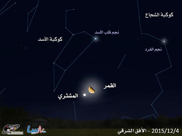 اقتران جميل بين كوكب المشتري والقمر في السماء الشرقية