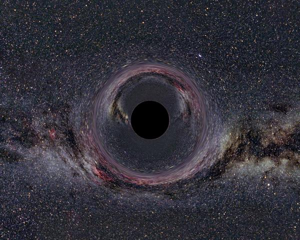 محاكاة الثقب الأسود مع درب التبانة في الخلفية – حقوق الصورة: Ute Kraus, Space Time Travel
