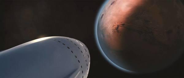 تصور فنان لمستعمرة سبيس إكس أثناء وصولها إلى المريخ. تهدف الشركة إلى تأسيس مدينة لمليون نسمة على الكوكب الأحمر. الحقوق: SpaceX