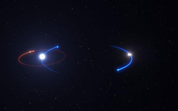 يوضح هذا الرسم مدار الكوكب في النظام HD 131399 (بالخط الأحمر) ومدارات النجوم (بالخطوط الزرقاء).   مصدر الصورة: ESO