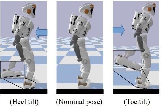 """محاكاة لحركةالروبوت """" فالكيري"""" في ثلاثة حالات: تدوير الكعب (على اليسار)، الوضع الأصلي (في المنتصف)، وإمالة الأصابع (على اليمين). حقوق الصورة يانغ، كومورا، ولي Yang, Komura & Li))"""