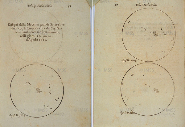 غاليليو غاليلي (1564-1642) تأريخ وتوضيحات فيما يتعلق بالبقع الشمسية Istoria e dimostrazioni intorno alle macchie solari، روما، 1613 فلورنسا، المكتبة الوطنية المركزية، Post. 155، الصفحتان 94-95