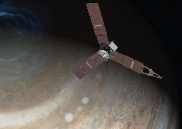 تصوّر فني للمركبة الفضائية جونو Juno والتي من المُقرر أن تصلَ إلى المشتري عام 2016 لدراسة الكوكب العملاق من مدارٍ قطبيٍ إهليجي.  حقوق الصورة: NASA