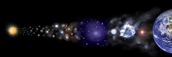 لقد خضع كوننا، من الانفجار العظيم الساخن جداً حتى يومنا هذا، لقدرٍ هائلٍ من النمو والتطور، وما زال يستمر بذلك. على الرغم وجود قدرٍ كبير من الأدلة على وجود المادة المظلمة، إلا أنها لم تتشكل إلا بعد مرور سنوات عديدة على الانفجار العظيم، ما يعني أن المادة المظلمة ربما تكونت في ذلك الوقت أو قبل ذلك، مع بقاء العديد من السيناريوهات قيد النقاش. حقوق الصورة: NASA / CXC / M.WEISS